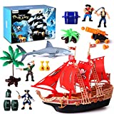 BeebeeRun Pirate ShipAction Figures Toys- Pirate Vessel Plastic Figures Playset- Educational Learning Toyswith Shark, Trees, Cannon,Boat and Other Accessories- Great Gifts for Kids Boys and Girls