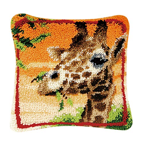 B Blesiya Lovely Animals Latch Hook Rug Making Kits for Beginners Embroidery Kit Pillowcase Cushion with Colorful Yarn Bundles, Canvas, Latch Hook Tool Easy - Giraffe