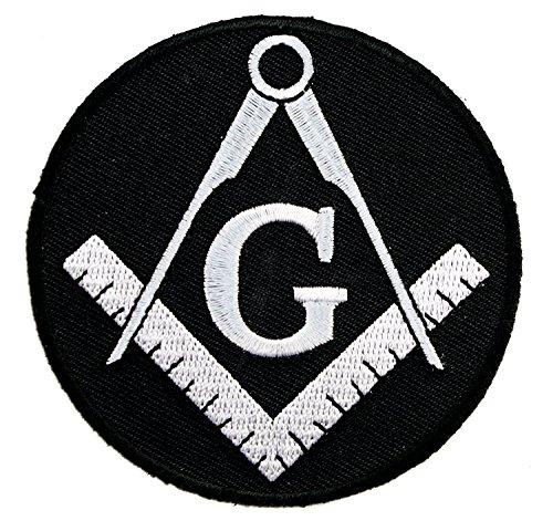 Freemasonry Masonic Square Compass Gray on Black Embroidered Patch D45