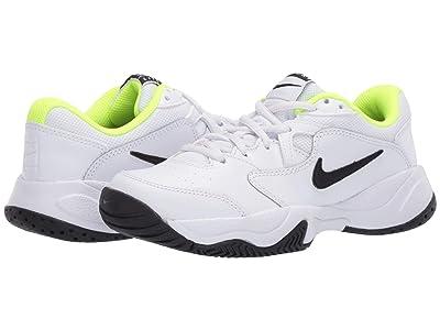 Nike Kids Court Jr. Lite 2 Tennis (Little Kid/Big Kid) (White/Black/Volt) Kid
