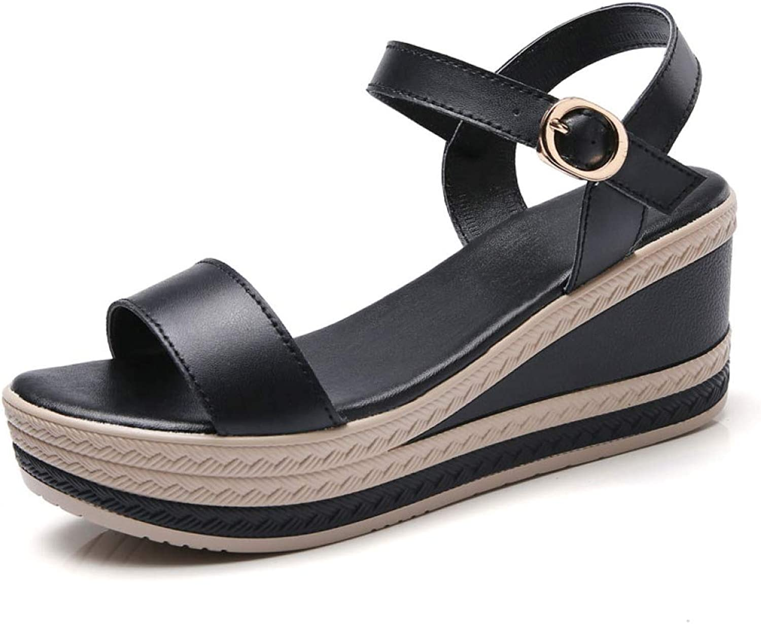 T-JULY Genuine Leather Women's Wedges Sandals Platform Open-Toe Beach shoes Ladies White Black Classic Footwear with Ankle Strap