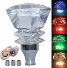 ZCWP Crystal Diamond Touch Activated Multi-Color LED Light Illuminated Gear Shifter Knob Fit for Most Manual Transmission and Automatic Transmission Without Lock Button