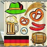 GLONLY Tenda da Doccia,Oktoberfest Simbolo Salsiccia di Grano Birra e salatini Disposizione Bavarese colorato,180 * 180 cm Resistente all'Acqua Tessuto in Poliestere Lavabile,con Ganci Inclusi