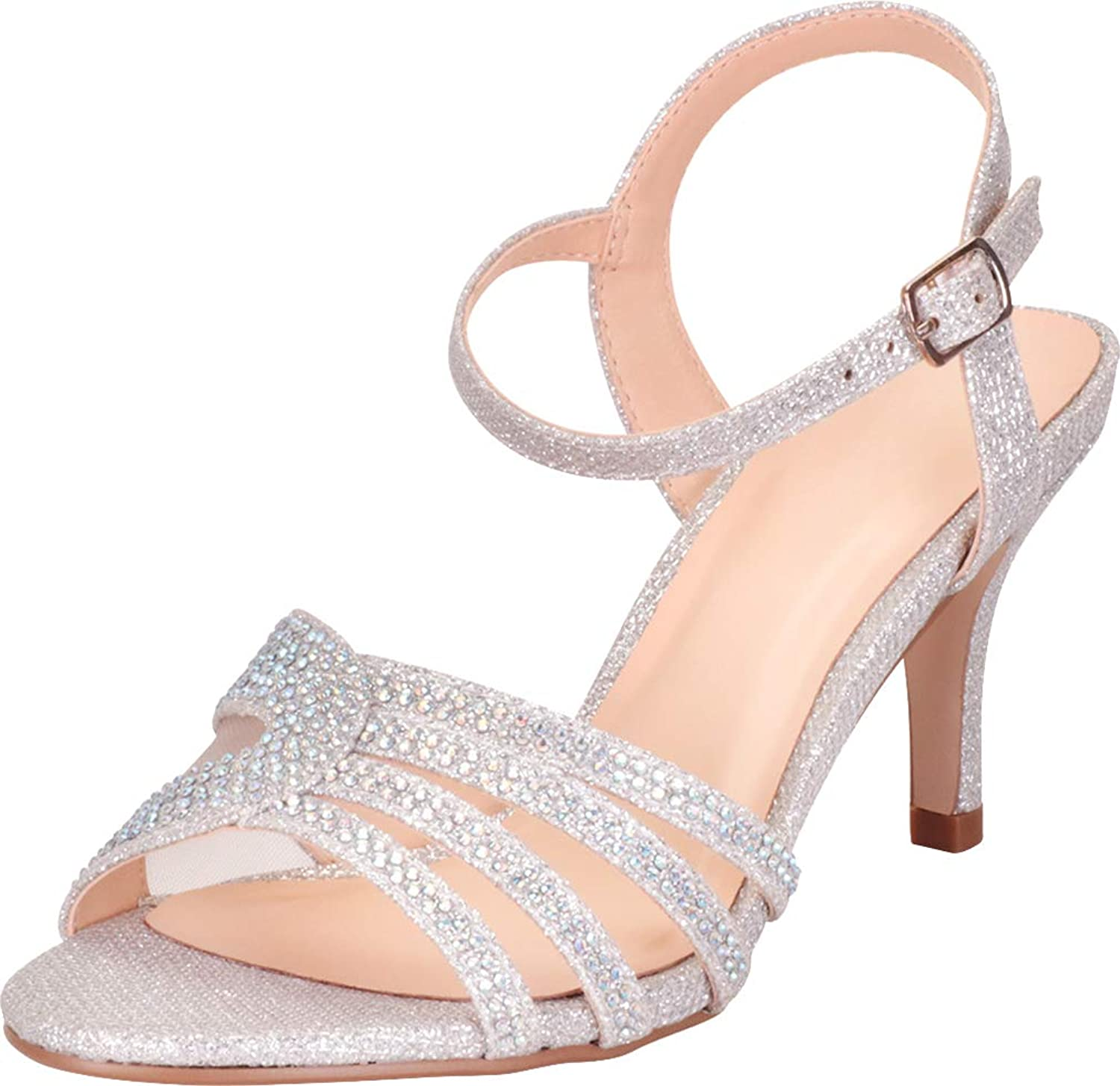 Cambridge Select Women's Open Toe Strappy Crystal Rhinestone Mid Heel Dress Sandal