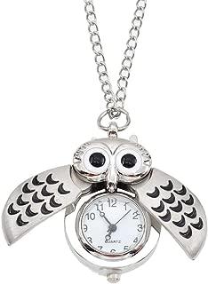 Qlychee Cute Owl Clock Pendant Necklace Vintage Flying Owl Quartz Pocket Watch Gift One