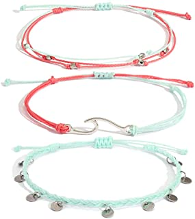 Lynnaneo Waterproof String Anklets Cute Beaded Ankle Bracelets Beach Wave Anklet Stainless Steel Coin Boho Ankle Jewelry for Women Teen Girls