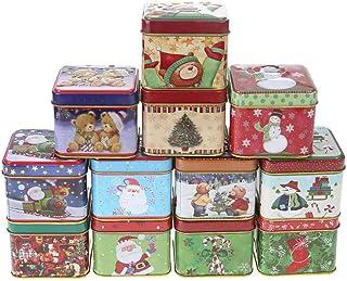 Hemoton Scatola di Immagazzinaggio del Regalo del Biscotto della Caramella di Festa di Natale di Forma della Cassetta delle Lettere di Latta Vuota