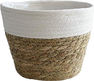 Meiyum 1 panier à fleurs en jonc de mer pour intérieur ou extérieur, doublure en plastique imperméable pour décoration d'i...