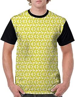 Men Summer Streetwear,Yellow Decor,Flower Maze Like Geometric Modern Cool Modern Abstract Pattern Designs,Yellow and White S-XXL T Shirt Print Short Sleeve