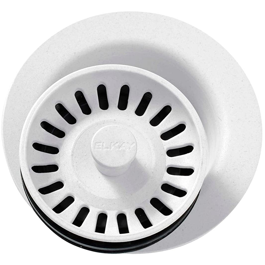 Elkay LKQD35WH White Polymer Disposer Flange with Removable Basket Strainer and Rubber Stopper