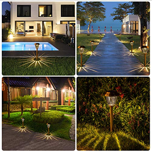 Solar Lights Outdoor Pathway - 8 Pack Copper Garden Walkway Lights Solar Powered Waterproof Outdoor Lights for Garden, Lawn, Yard, Walkway, Pathway, Landscaping