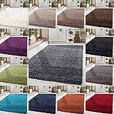 HomebyHome Shaggy Hochflor Langflor Einfarbig Günstig Teppich für Wohnzimmer mit Oeke Tex Zertifiziert 14 Farben und 17 Grössen, Größe:80x150 cm, Farbe:Grau