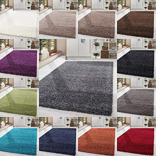 HomebyHome Shaggy Hochflor-Teppich Langflor Wohnzimmerteppich Soft Einfarbig in 14 Farben, Farbe:Beige, Grösse:140x200 cm