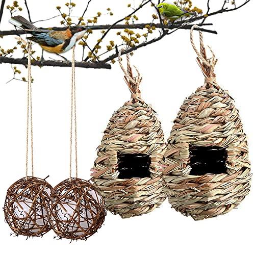 ONCHSH Hanging Hummingbird House Set of 4, Hand Woven Bird Nest Round...