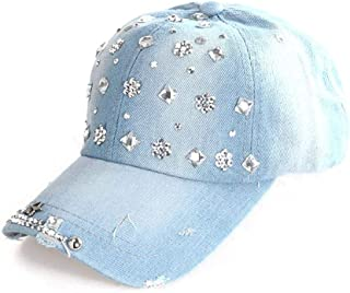 Travel Visor Cute Cowboy Hat Adjustable Ladies Hat 2019 Fashion Denim Diamond Baseball Cap Hats & Caps (Color : Light Blue)