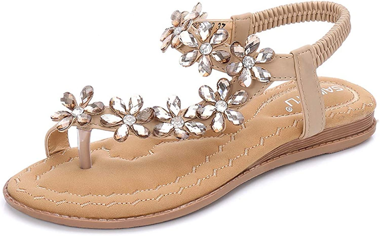 Womens T-Strap Sandals Flat Bohemia Roman Clip Toe Elastic Flip Flop Summer Casual shoes for Ladies Beach shoes