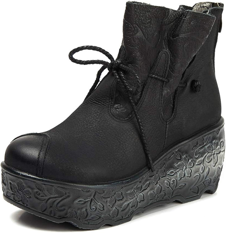 DANDANJIE Damen Stiefeletten Wedges Heel Vintage Stiefelies mit Reiverschluss Schnürschuhe für Herbst und Winter