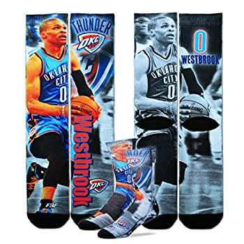 Oklahoma City Thunder Youth Size NBA Drive Crew Kids Socks  4-8 YRS  1 Pair -Russell Westbrook #0