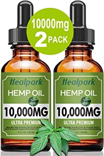 (2 Pack 10000mg) Hemp Oil for Relief Pain Stress - Natural Organic Hemp Seed Extract Hemp Drops Rich in Vitamin & Omega, Z...