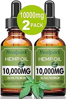 (2 Pack 10000mg) Hemp Oil for Relief Pain Stress - Natural Organic Hemp Seed Extract Hemp Drops Rich in Vitamin & Omega, Zero THC CBD Cannabidiol