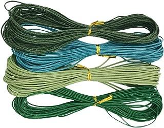 Baoblaze 4 Bundles Crafts 1.5mm 11 Yards Jewelry Making Beading Crafting Macramé Waxed Cotton Cord Thread (Green Tone)