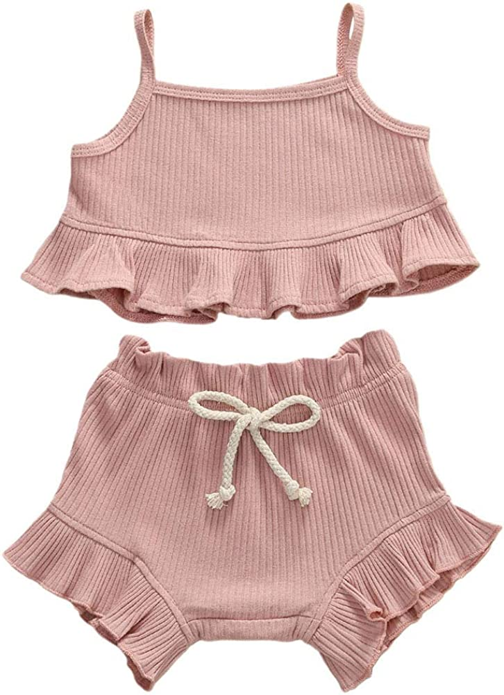 FINELOOK 2PCS Baby Beauty products Girls Cotton Ribbed Spaghett Recommendation Outfits