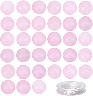 100Pcs Natural Rose Quartz Beads Natural Crystal Beads Stone Gemstone Round Loose Energy Healing Beads with Free Crystal S...