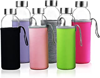 YEBODA Glass Water Bottles 18oz Bottles For Beverage and Juicer Use Stainless Steel Caps - Including Colorful Nylon Protection Sleeve, Pack Of 6