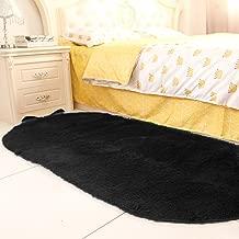 YJ.GWL High Pile Velvet Bedroom Rugs (2.6' x 5.3'), Extra Soft Kids Room Carpet Shaggy Bedside Area Rug Home Decor, Black