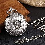 SHUMEISHOUT El Nuevo Reloj de Bolsillo Liso 2 Lados Caja Abierta Cadenas mecánicas Steampunk Sildeleton Skeleton Hand Wind Fob Clip para Hombres Mujeres