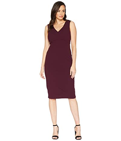 Maggy London Scuba Crepe Solid Sheath Dress (Port Wine) Women