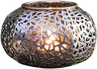 PierSurplus Metal Oriental-Style Storm Candle Lamp - Antique Silver Candle Lantern Product SKU: CL220891