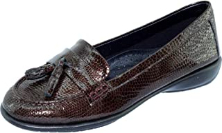 9b1924f5013b2c Aerobics Darling Mocassins A Pompons Slipper Souple Semelles Antidérapantes  Chaussures Confort Femme Marque Cuir Vernis Marron