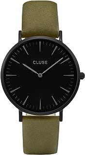 Cluse Women's La Boheme 38mm Green Leather Band Metal Case Quartz Black Dial Analog Watch CL18502