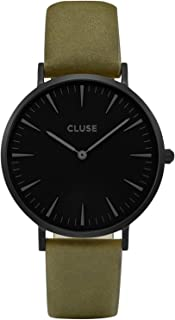 Cluse Women's La Boheme 38mm Green Leather Band Metal Case Quartz Black Dial Analog Watch CL18502
