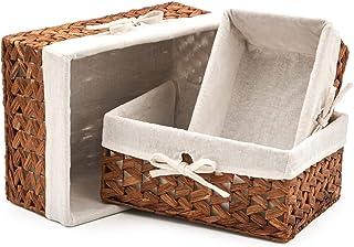 EZOWare Set de 3 Cestas de Almacenamiento de Mimbre de Natural Jacinto de Agua, Caja Organizadora Decorativo con Forro de Tela Extraíble Ideal para Baño, Cocina o Decoración del Hogar
