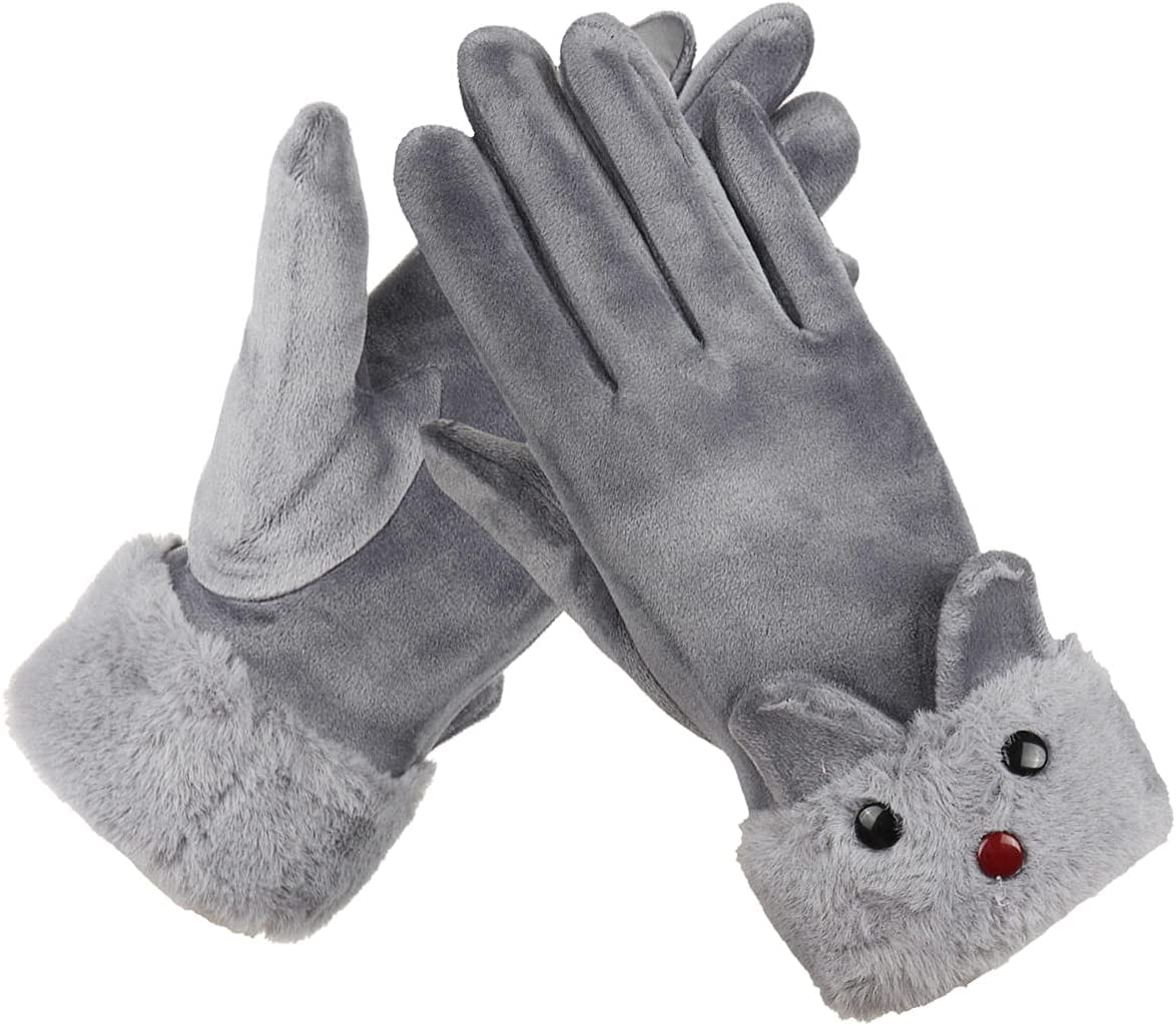 Lupovin-Keep Warm Winter Ardent Women Gloves Outside Sport Touch Screen Windproof Full-Finger Gloves Non-Slip (Color : Grey)