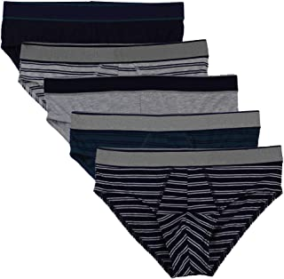 Nightaste Men's Cotton Underwear Hip Briefs 5-Pack Classic Stretch Bulge Pouch Bikini Undies with Assorted Solid Color Stripe