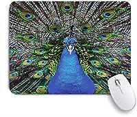 ECOMAOMI 可愛いマウスパッド 鮮やかなカラフルな羽の写真パターンと壮大な孔雀の肖像画 滑り止めゴムバッキングマウスパッドノートブックコンピュータマウスマット