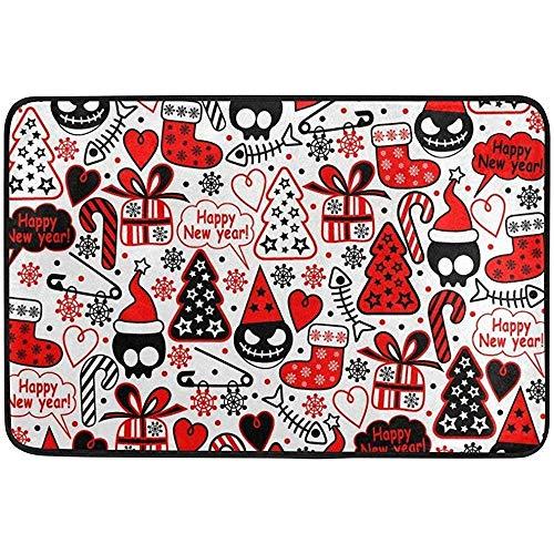 OUSHENGMAOYI Alfombras Lavables Navidad Año Nuevo Invierno Cráneo Rojo Árbol Boo Felpudos Alfombrillas Raspador De Zapatos para El Hogar Entrada Interior Camino Puerta Principal 60X40 Cm
