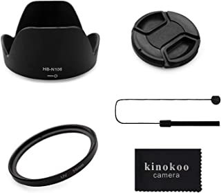 kinokoo Kit de Accesorios para Lentes de cámara kinokoo 55mm con Filtro UV para Nikon D5600/D5300/D3400/D3500 Tapa de Lentes Reversible de 55mm + Tapa de Lente de 55mm + Correa de Tapa de Lente(C)