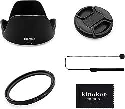 kinokoo 55mm Filter Camera Lens Accessories Kit for Nikon D5600 D5300 D3400 D3500  55mm Reversible Lens Hood Matched with 55mm Lens Cap and Lens Cap Leash  Lens Shade Kit Lens Cap Set  C