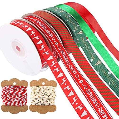 UFLF 8 Rolle Geschenkband Weihnachten Schleifenband Weihnachtsband Rot Grün Dekoband Stoffband für Weihnachten Hochzeit Geburtstag Party Geschenkverpackung DIY Handwerk Basteln Bänder