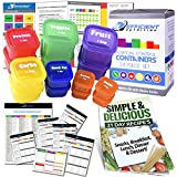 21 Day LABELED Efficient Nutrition Portion Control Containers Kit (14-Piece) + COMPLETE GUIDE + 21 DAY PLANNER eBOOK + RECIPE eBOOK, BPA FREE Color Coded Meal Prep System for Diet and Weight Loss