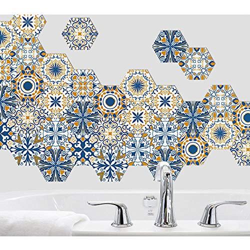 Pegatinas de piso autoadhesivas hexagonales Resistente al desgaste resistente al agua para sala de estar Cocina Etiqueta de azulejos despegables y pegados Revestimiento paredes azul amarillo blanco