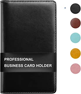 Sooez Leather Business Card Book Holder, Professional Business Cards Book Organizer PU Name Card Credit Cards Book Holder Booklet for Men and Women, Black