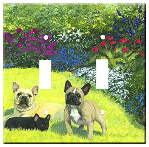 Gone Doggin French Bulldog 4A Double Toggle Light Switch Plate – Metal Wall Plate Frenchie Dog Art