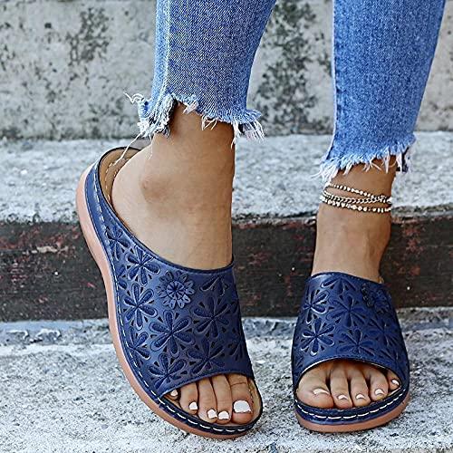 ypyrhh Sandalias con Plataforma Plana Hombre,Cuña con Sandalias de Mujer, Use Zapatos Ligeros de Playa.-Azul Marino_35,Hombre Chanclas Suela
