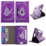 White Butterfly Purple tablet case 8 inch for Kindle fire HD 8' 8inch android tablet cases 360 rotating slim folio stand protector pu leather cover travel e-reader cash slots