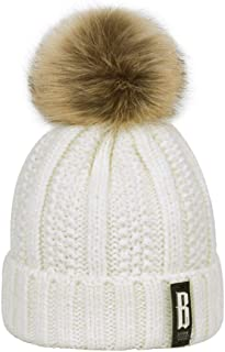 ARHSSZY Winter Pom Poms Ball Hat for Women Girl 's Knitted Cap Thick Skullies Beanies